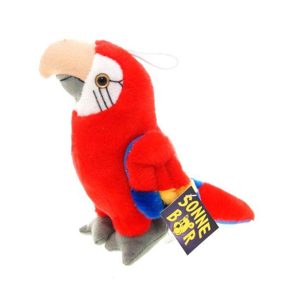 Teddywerkstatt-Plüsch-Papagei-Zahra-rot