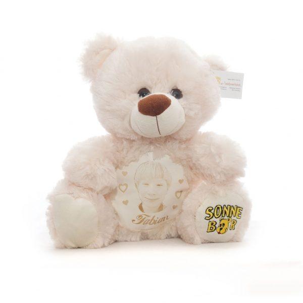 """Teddy """"Happy"""" mit Lederbauch und Foto"""