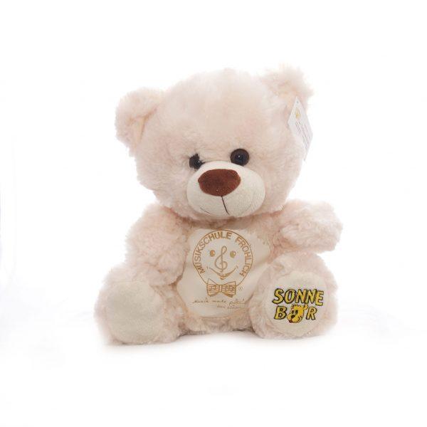 """Teddy """"Happy"""" mit Lederbauch und Logo"""